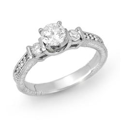 0.90 CTW Certified VS/SI Diamond Solitaire Ring 18K White Gold - REF-154X5T - 14261
