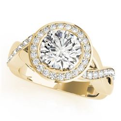 1.5 CTW Certified VS/SI Diamond Solitaire Halo Ring 18K Yellow Gold - REF-243K5W - 26172