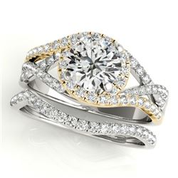 1.65 CTW Certified VS/SI Diamond 2Pc Set Solitaire Halo 14K White & Yellow Gold - REF-414F2N - 31011