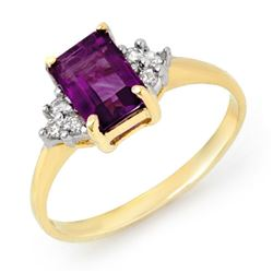 1.16 CTW Amethyst & Diamond Ring 10K Yellow Gold - REF-17M5H - 13056