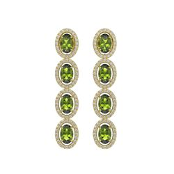 5.88 CTW Tourmaline & Diamond Halo Earrings 10K Yellow Gold - REF-121M3H - 40525