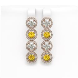 6.18 CTW Canary Yellow & White Diamond Designer Earrings 18K Rose Gold - REF-887A6X - 42693