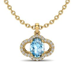 2 CTW Sky Blue Topaz & Micro Pave VS/SI Diamond Necklace 10K Yellow Gold - REF-30K2W - 20626