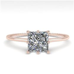 1.0 CTW VS/SI Princess Diamond Solitaire Engagement Ring Size 7 18K Rose Gold - REF-287N4Y - 35894