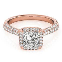1.15 CTW Certified VS/SI Princess Diamond Solitaire Halo Ring 18K Rose Gold - REF-163A6X - 27094