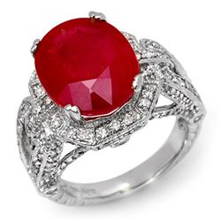 10.50 CTW Ruby & Diamond Ring 14K White Gold - REF-162T4M - 11899