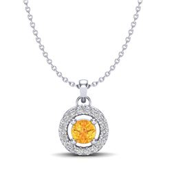 0.38 CTW Citrine & Micro Pave VS/SI Diamond Necklace Halo 18K White Gold - REF-28N4Y - 20369