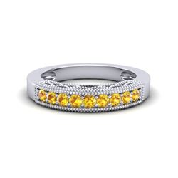 0.50 CTW Yellow Sapphire Band Love Me Art Deco Ring 10K White Gold - REF-17Y6K - 20816