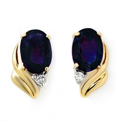 1.20 CTW Blue Sapphire & Diamond Earrings 10K Yellow Gold - REF-12T5M - 12829
