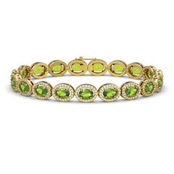 13.87 CTW Peridot & Diamond Halo Bracelet 10K Yellow Gold - REF-251K6W - 40480