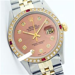Rolex Men's Two Tone 14K Gold/SS, QuickSet, Diam Dial & Diam/Ruby Bezel - REF-557X6Y