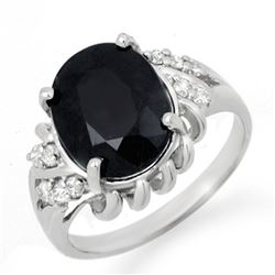 4.83 CTW Blue Sapphire & Diamond Ring 14K White Gold - REF-54A2X - 13571