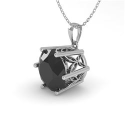 1 CTW Black Certified Diamond Solitaire Necklace 18K White Gold - REF-42T2M - 35874