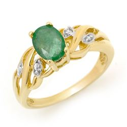 0.82 CTW Emerald & Diamond Ring 10K Yellow Gold - REF-20N2Y - 12898