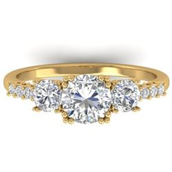 1.5 CTW Certified VS/SI Diamond Art Deco 3 Stone Ring 14K Yellow Gold - REF-215A3X - 30461