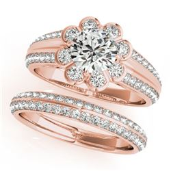 1.86 CTW Certified VS/SI Diamond 2Pc Wedding Set Solitaire Halo 14K Rose Gold - REF-418X4T - 31287