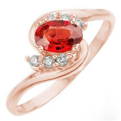 0.70 CTW Red Sapphire & Diamond Ring 14K Rose Gold - REF-22N4Y - 10253