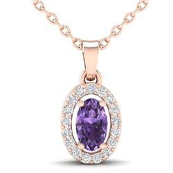 0.36 CTW Amethyst & Micro Pave VS/SI Diamond Necklace Halo 14K Rose Gold - REF-24K4W - 21310