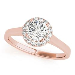 0.85 CTW Certified VS/SI Diamond Solitaire Halo Ring 18K Rose Gold - REF-207K6W - 26591