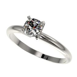 0.50 CTW Certified VS/SI Quality Cushion Cut Diamond Solitaire Ring 10K White Gold - REF-77A6X - 328