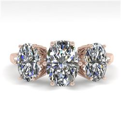 2.0 CTW Solitaire Past Present Future VS/SI Oval Diamond Ring 18K Rose Gold - REF-414Y3K - 35912