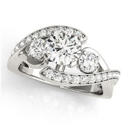 2.01 CTW Certified VS/SI Diamond Bypass Solitaire Ring 18K White Gold - REF-558W5F - 27669