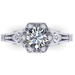 1 CTW Solitaire Certified VS/SI Diamond Ring 14K White Gold - REF-287H3A - 38529