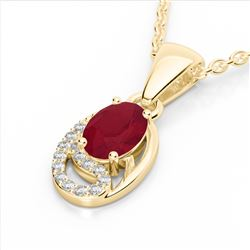 1.25 CTW Ruby & Micro Pave VS/SI Diamond Necklace 10K Yellow Gold - REF-18K9W - 22355