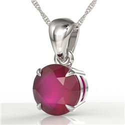 2 CTW Ruby Designer Inspired Solitaire Necklace 18K White Gold - REF-24X9T - 22038