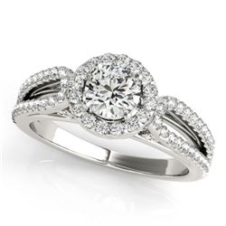 0.9 CTW Certified VS/SI Diamond Solitaire Halo Ring 18K White Gold - REF-134K5W - 26422