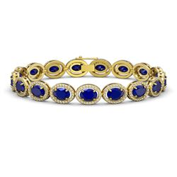 22.89 CTW Sapphire & Diamond Halo Bracelet 10K Yellow Gold - REF-291M5H - 40609