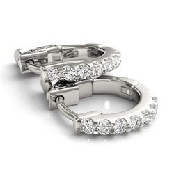 0.25 CTW Diamond VS/SI Certified Hoop Earrings 14K White Gold - REF-27W3F - 29206