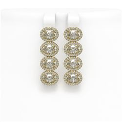 5.92 CTW Oval Diamond Designer Earrings 18K Yellow Gold - REF-1094N9Y - 42820