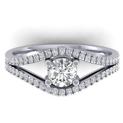 1.05 CTW Certified VS/SI Diamond Art Deco Ring 14K White Gold - REF-126A8X - 30300
