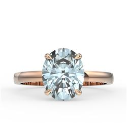 3.50 CTW Sky Blue Topaz Designer Inspired Solitaire Ring 14K Rose Gold - REF-24K5W - 22085