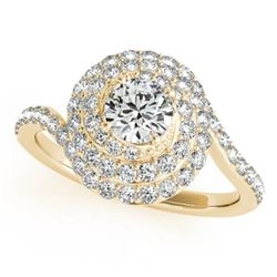 1.54 CTW Certified VS/SI Diamond Solitaire Halo Ring 18K Yellow Gold - REF-228A5X - 27050