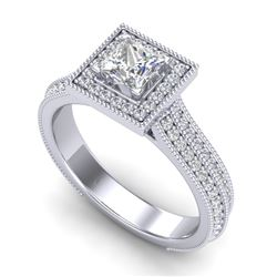 1.41 CTW Princess VS/SI Diamond Solitaire Micro Pave Ring 18K White Gold - REF-200N2Y - 37178