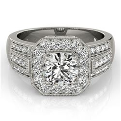 1.5 CTW Certified VS/SI Diamond Solitaire Halo Ring 18K White Gold - REF-292K4W - 26892