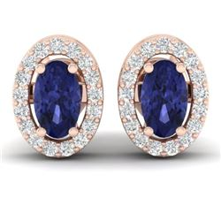 0.70 CTW Tanzanite & Micro Pave VS/SI Diamond Earrings Halo 14K Rose Gold - REF-27W3F - 21195