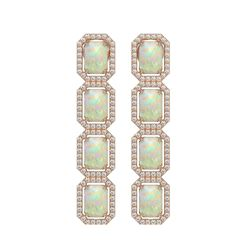 7.93 CTW Opal & Diamond Halo Earrings 10K Rose Gold - REF-162A2X - 41442