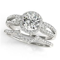 1.36 CTW Certified VS/SI Diamond 2Pc Wedding Set Solitaire Halo 14K White Gold - REF-370W8F - 31181
