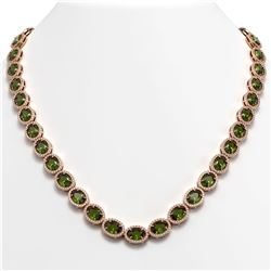 49.46 CTW Tourmaline & Diamond Halo Necklace 10K Rose Gold - REF-763M6H - 40575