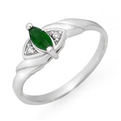0.26 CTW Emerald & Diamond Ring 10K White Gold - REF-13H5A - 12553