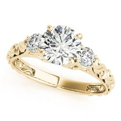 1 CTW Certified VS/SI Diamond 3 Stone Solitaire Ring 18K Yellow Gold - REF-186N4Y - 28043