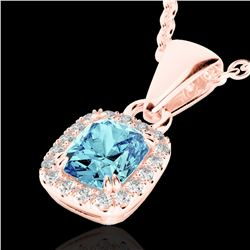1.25 CTW Sky Blue Topaz & Micro VS/SI Diamond Halo Necklace 10K Rose Gold - REF-27F3N - 22893