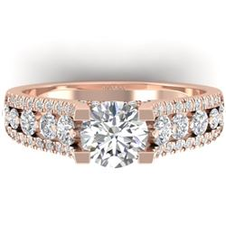 2.55 CTW Certified VS/SI Diamond Art Deco Micro Ring 14K Rose Gold - REF-431H5A - 30298