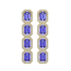 11.93 CTW Tanzanite & Diamond Halo Earrings 10K Yellow Gold - REF-290W2F - 41437