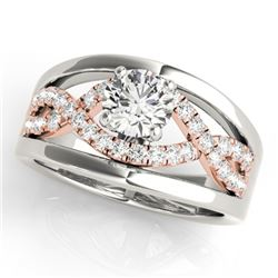 1.55 CTW Certified VS/SI Diamond Solitaire Ring 18K White & Rose Gold - REF-536T8M - 27925