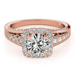 1.5 CTW Certified VS/SI Diamond Solitaire Halo Ring 18K Rose Gold - REF-249T6M - 26941