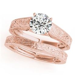 1 CTW Certified VS/SI Diamond Solitaire 2Pc Wedding Set 14K Rose Gold - REF-364T2M - 31869